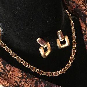 Vintage Anne Klein animal print necklace/earrings